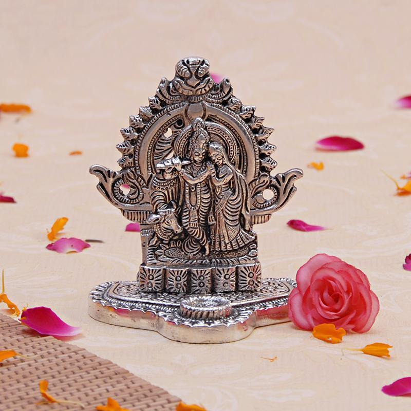 Radha Krishna White Metal God Idol Giftteens Buy Gifts Online