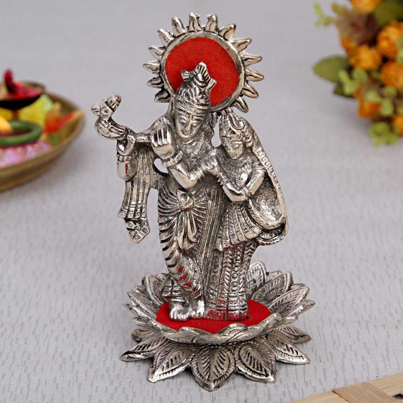 Beautiful White Metal Radha Krishna Idol Giftteens Buy Gifts Online
