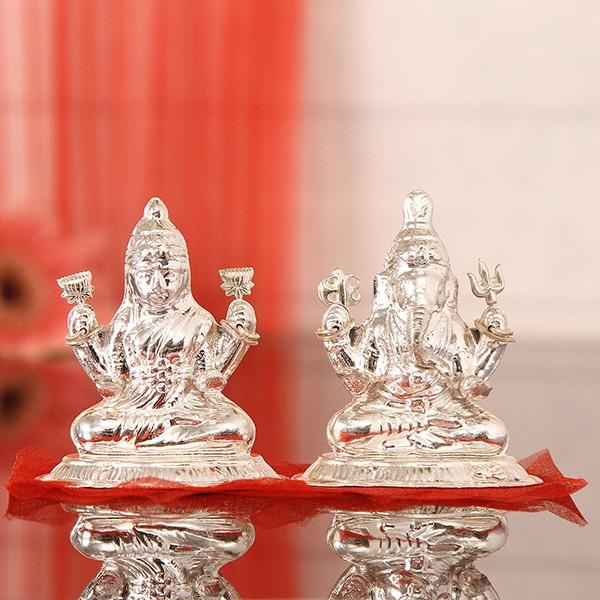 Silver Lakshmi Ganesha Idol (55 Gms)